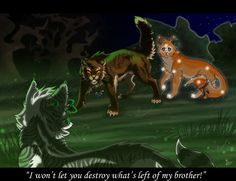 Tigerheart stopping Ivypool from killing Flametail after he accidentally wandered into the Dark forest- on deviantART.