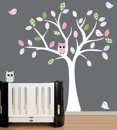 Childrens nursery decal - white tree wall decal - patterned owls, birds and leaves. $99.00, via Etsy.