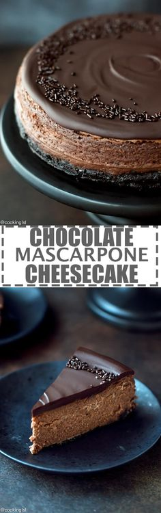Chocolate Mascarpone Cheesecake Recipe - chocolate cookie crust, luscious dark chocolate mascarpone filling and rich chocolate ganache topping. Chocolate lover's heaven! Easy to make, but impressive dessert for any occasion. via @cookinglsl |