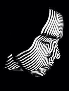 Guys face black  white stripes art