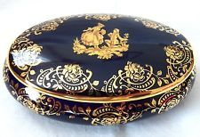 Vintage~Limoges France~Oval trinket box~Cobalt blue background top and bottom~Gold scrolling around bottom rim and lid~Courting couple in center of lid