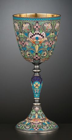 A RUSSIAN SILVER GILT AND CLOISONNÉ ENAMEL GOBLET . Ivan Petrovich Khlebnikov, St. Petersburg, Russia, circa 1908-1917.