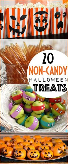 Non-Candy Halloween Treat Options. Creative no sugar Halloween gifts, treats and favors. Edible classroom crafts and treats for trick or treats. Healthier Halloween gift options.