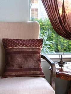 Gilded Chocolate (c) ~ Brown and Gold Sari Throw Cushion Cover 18x18 Saffron Marigold | $15