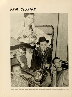 Athena yearbook, 1941. 5 students have an impromptu jam in the middle of the night.