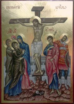 hand painted orthodox Icon of the Crucifixion