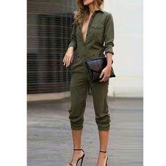 Stylish jumpsuit Shirt collar, long sleeves 4dclothingshop Pants Jumpsuits & Rompers