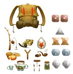 DnD - Items by M0AI backpack coins money gold copper silver flute fishing pole food kettle pipe silverware equipment gear magic item | Create your own roleplaying game material w/ RPG Bard: www.rpgbard.com | Writing inspiration for Dungeons and Dragons DND D&D Pathfinder PFRPG Warhammer 40k Star Wars Shadowrun Call of Cthulhu Lord of the Rings LoTR + d20 fantasy science fiction scifi horror design | Not Trusty Sword art: click artwork for source