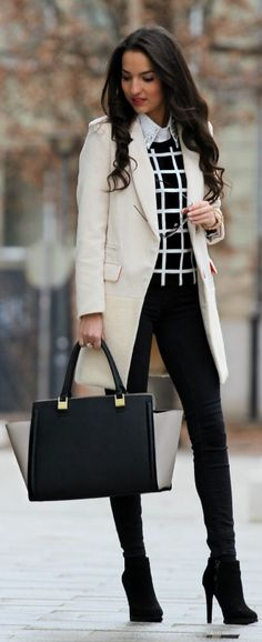 Shop this look on Lookastic: http://lookastic.com/women/looks/ankle-boots-skinny-jeans-tote-bag-coat-crew-neck-sweater-dress-shirt/4195 — Black Suede Ankle Boots — Black Skinny Jeans — Black Leather Tote Bag — Beige Coat — Black and White Check Crew-neck Sweater — White Embroidered Dress Shirt