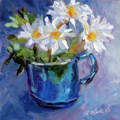 """Daisies in Blue"" - Original Fine Art for Sale - © kristen dukat"