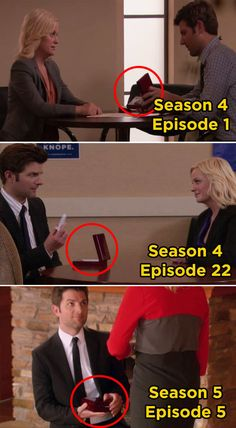 Ben gives Leslie a Knope 2012 pin, Leslie gives Ben a Washington Monument figurine, and finally, Ben proposes to Leslie.