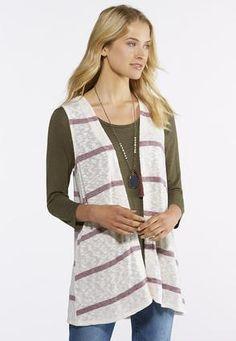 dac9d26120a7d Cato Fashions Striped Hacci Knit Vest  CatoFashions Knit Vest