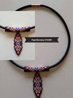 Miyuki beaded leather corded necklace