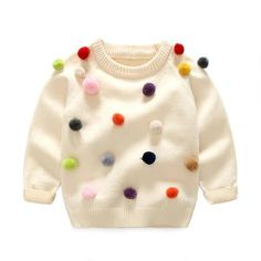 Boys Girls O-neck Sweater Kids Clothes Boys Sweaters Outerwear Warm Knitted Pullover Autumn Children's Sweater Coats Kids Clothes Boys, Kids Outfits Girls, Boy Outfits, Thick Sweaters, Boys Sweaters, Pom Pom Sweater, Girls Formal Dresses, Winter Kids, Toddler Boys