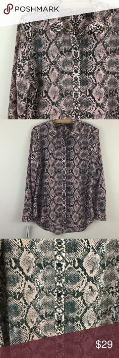 "Snakeskin python pink printed button down top Really cool statement print in a nice classic button down, very comfortable smooth polyester fabric that doesn't wrinkle, chest measures 22"" across, length is 28"" in front, 30"" in back. Colors are pink, gray, black, and white. Apt. 9 Tops Button Down Shirts"