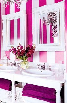 Hot Pink Striped Walls. Not really into  pink  but it is a great idea to mix in other color of your liking.