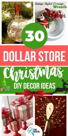 Christmas is coming! Nothing brings in the holiday cheer like decorating your home or business. Even if you don't have a lot of money, decorating is so much fun. Christmas cheer doesn't have to cost a fortune. Annnd just because it didn't cost much doesn't mean it has to look cheap or tacky.I have compiled a list of some cheery holiday decor ideas that can be created by an inexpensive visit to the Dollar Store but that still look classy and bring on the joy. #christmasdecor #decor