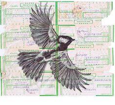 Mark Powell - bird in flight - ballpoint pen art