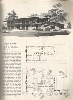 Awesome Vintage Home Design With Vintage House Plans Old West Homes Posted On November 4 Modern Floor Plans, Modern House Plans, Modern House Design, House Floor Plans, Building Plans, Building Design, Vintage House Plans, Vintage Homes, Mcm House
