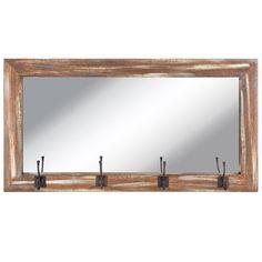 Distressed Wood Wall Mirror With Hooks Rustic Barnwood Entryway Coat Hat Rack  #NeedfulThings #Country