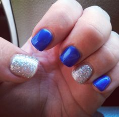 Royal blue and silver glitter gel nails