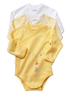 Happy Price Pack of 3 Long-Sleeved Bodysuits for Newborns Green+Yellow