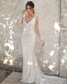 33 Vintage Inspired Wedding Dresses ❤ vintage inspired 'wedding dresses sheath v neckline with long sleeves anna campbell #weddingforward #wedding #bride