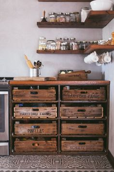 diy kitchen This is how you re-purpose old furniture. Try using kitchen drawers instead of cabinets to hold your kitchen items. They often result in more storage space in a somewhat tiny home. Kitchen drawers vs cabinets Its a no-brainer Eclectic Kitchen, Shabby Chic Kitchen, Kitchen Industrial, Vintage Kitchen, Reclaimed Kitchen, 1970s Kitchen, Kitchen Drawers, Kitchen Items, Kitchen Hacks