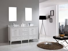 Verona 1600 White Traditional Bathroom Double Vanity with Carrera White Marble Stone Top BATH 1. 3 TAP HOLES EACH BASIN.
