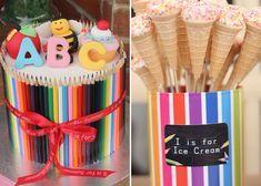 Back 2 School Dessert table Lollipop tree Alphabet Birthday Parties, Alphabet Party, Alphabet For Kids, School Birthday, 3rd Birthday, Back To School Party, School Parties, Fun Cupcakes, Amazing Cupcakes