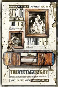 Vintage / Retro Indie Rock Concert /Flyer / Poster — Photoshop PSD #yellow…