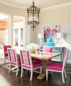 Dining Room With Hot Pink Chairs IBB Design Fine Furnishings
