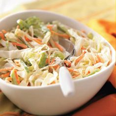 Creamy Slaw~Ingredients  •3 to 4 cups shredded cabbage  •1 cup shredded carrots  •1 cup thinly sliced green pepper  •1/2 cup mayonnaise  •1/4 cup lemon juice  •1 to 2 tablespoons sugar  •1 tablespoon prepared mustard  •1 teaspoon celery seed  •1 teaspoon salt