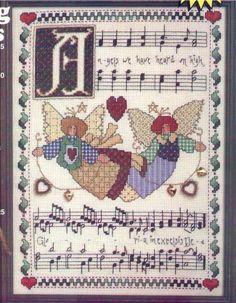 ru / Фото - Angels we have Heard on High - mtecuka Cross Stitch Angels, Cross Stitch Charts, Cross Stitch Patterns, Christmas Scenes, Christmas Cross, Religious Cross, Patch, Cross Stitching, Vintage World Maps