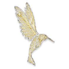 14k & Rhodium Diamond Cut Filigree Hummingbird Pin #diamondbrooch
