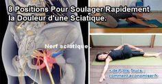 Ces mouvements sont inspirés de la pratique du yoga et permettent de bien étirer les muscles du bas du dos. Grâce à ces exercices, on parvient à supprimer la douleur ou encore mieux à l'éviter, en la prévenant.  Découvrez l'astuce ici : http://www.comment-economiser.fr/8-position-soulager-rapidement-douleur-sciatique.html?utm_content=buffer06430&utm_medium=social&utm_source=pinterest.com&utm_campaign=buffer