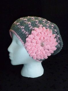 Slouch Beanie with Removable Flower  Slouchy Beret by berly731