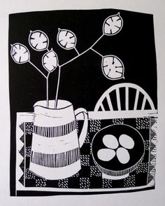 'Honesty and Eggs' by jan brewerton  Edition of 25  Lino print on 220grms paper  21cm x 17cm