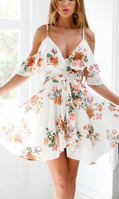 59d08cf83f7e Wanting You Floral Pattern Short Sleeve Off The Shoulder Cross Wrap V Neck  Ruffle Skater Flare A Line Mini Dress - 2 Colors Available
