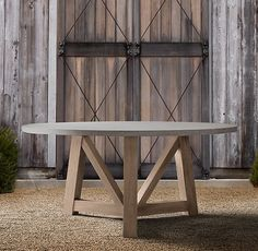 """French Beam Weathered Concrete & Teak 72"""" Round Dining Table"""