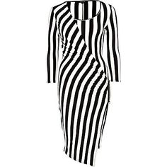 Black and white stripe midi draped dress from River Island
