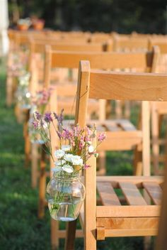Wild flowers in mason jars.
