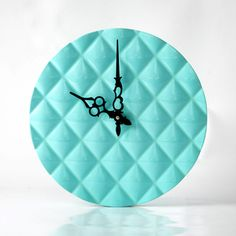 Wall clock made Glossy Turquoise Light , diamond 3d pattern cut, shiny by DesignAtelierArticle