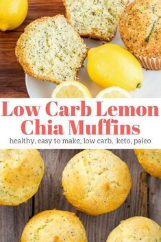 Low Carb Lemon Chia Seed Muffins made with coconut flour are the perfect low carb muffins. They are moist, packed with lemon flavor, and have only 5 net carbs per serving. This healthy recipe from Slender Kitchen has 4 Weight Watchers Freestyle Smart Healthy Muffins, Healthy Sweets, Healthy Baking, Healthy Meals, Healthy Lemon Desserts, Dinner Healthy, Low Calorie Muffins, Healthy Snacks To Make, Eating Healthy