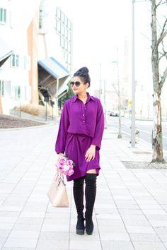 Silk shirt dress eggplant purple color - flowers