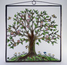 Tree of Life 4  Painted Glass by KorosiArt on Etsy