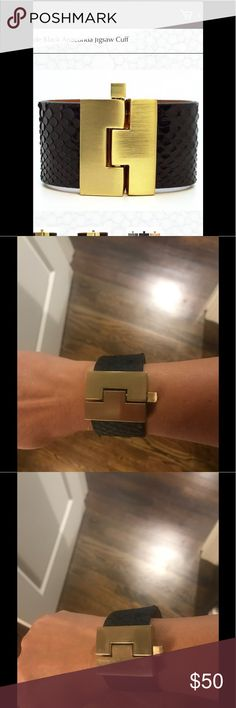 Leighelenat Cuff Black anaconda jigsaw cuff by Leighelenat. Block style pin for closure. Nickel-free aluminum alloy gold color jigsaw buckle design. Minimal wear signs on buckle. See picture.  In good condition. Leighhelenat Jewelry Bracelets