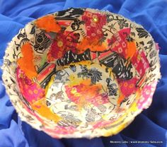 Diwali gift.  Recycled papier mache bowls made out of scraps of newspaper, handmade paper and fabric scraps.