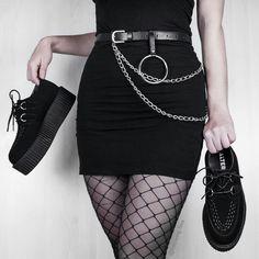 On pic @following.flies Platform Creepers, Black Platform, Platform Shoes, All Black, Black And White, Alternative Girls, Grunge Outfits, High Waisted Skirt, Vegan