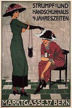sock & glove house VINTAGE ad poster BURKHARD MANGOLD switzerland 1908 24X36